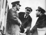 Three of the Bolshevik leaders who founded the Soviet Union. Trotsky (left), Lenin (center) and Kamenev (right)