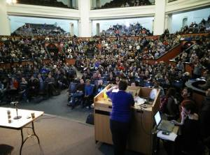 Hundreds of members of CUPE 3902 meet in Convocation Hall at the University of Toronto, just before voting 98% to reject their Employer's final offer.