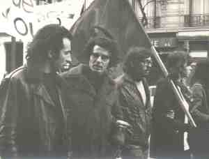 Bensaid (on the left) marches with Alain Krivine at the funeral of Pierre Overney, a Maoist militant killed by a security guard at the Renault Billancourt factory in Boulogne in February 1972