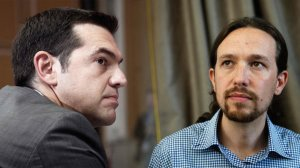 Alexis Tsipras (Syriza) and Pablo Iglesias (Podemos) at a Syriza rally. Yannis Behrakis / Reuters
