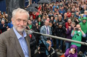 British labour party leader Jeremy Corbyn at public rally