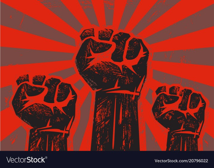 Three clenched raised fists